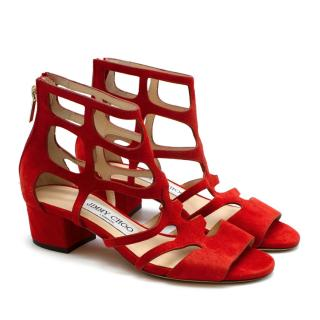 Jimmy Choo Red Suede Ren Caged Block Heel Sandals Size 34