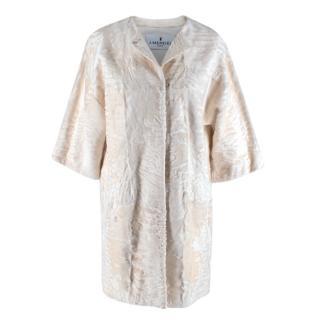 J Mendel White Astrakhan Fur Collarless Coat