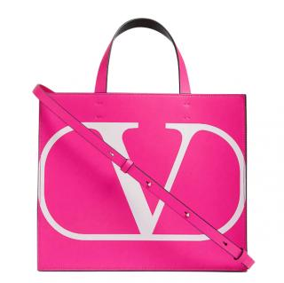 Valentino Garavani Pink VLOGO Leather Tote