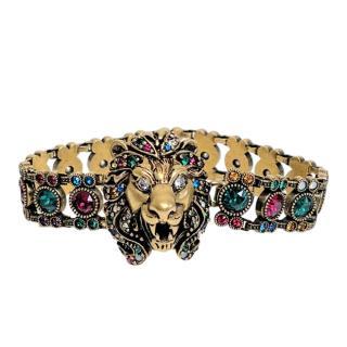 Gucci Multi-Coloured Crystal Embellished Lion Head Bracelet