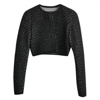 Alaia Black Wool Blend Cropped Cardigan