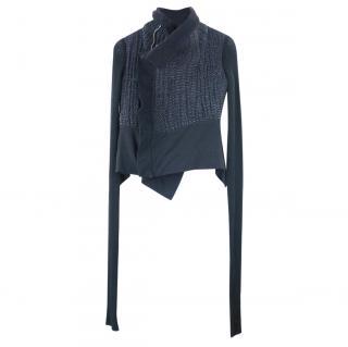 Rick Owens Black Asymmetric Knit Jacket