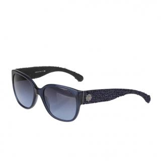 Chanel Blue 5237 Tweed Detail Sunglasses