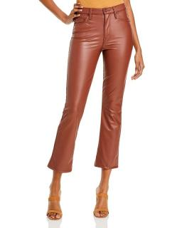 Mother The Insider Faux-Leather Ankle Flare Jeans - Tortoiseshell