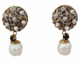Dolce & Gabbana Spiked Leopard Faux Pearl Earrings