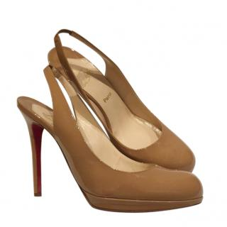 Christian Louboutin Patent Beige Slingback Sandals