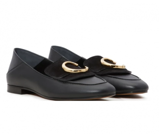 Chloe Black Suede & Leather C Loafers