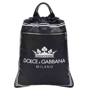 Dolce & Gabbana Crown Print Black Backpack