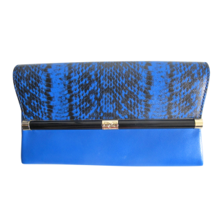 DVF Blue Leather Snake Print Envelope Clutch