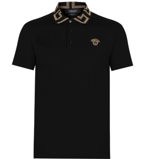 Versace Black Greca-collar cotton-piqu� polo shirt