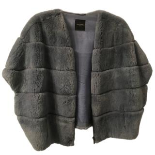 Max Mara Grey Rabbit Fur Gilet