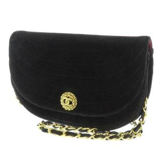 Chanel Black Velvet CC Flap Bag