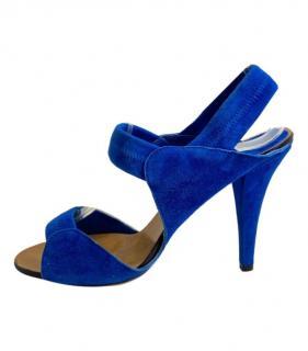 Chloe Blue Suede Slingback Sandals