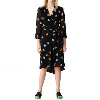 Ganni Black Dainty Georgette Printed Wrap Dress