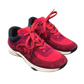 Chanel Red/Burgundy Suede CC Sneakers