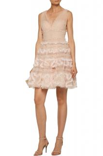 Marchesa Notte Pale Pink Embroidered Sequin Tiered Dress