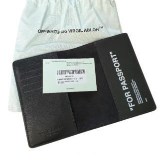 Off White Black Leather Passport Holderr