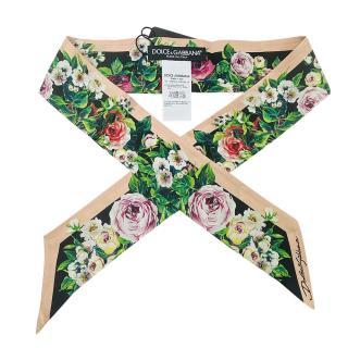 Dolce & Gabbana rose print silk bandana scarf