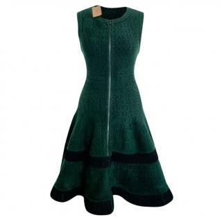 Alaia bottle green and black skater dress