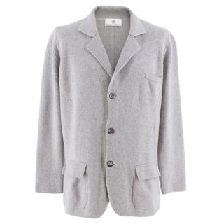 Emanuele Maffeis Grey Cashmere Single Breasted Knit Blazer Jacket