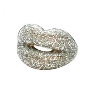 Solange Azagury- Partridge silver glitter lacquer  lip ring