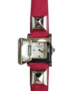 Hermes Opaline face and pink strap Medor Watch
