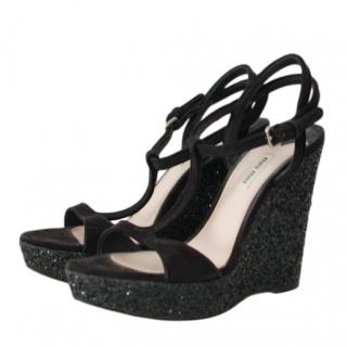 Miu Miu Black Glitter Wedge Suede Sandals