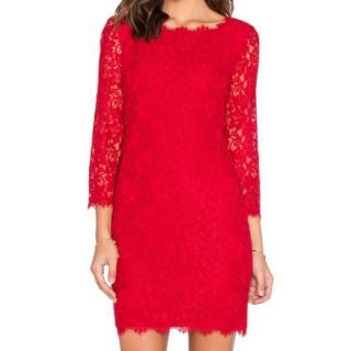 DVF red lace zarita mini dress
