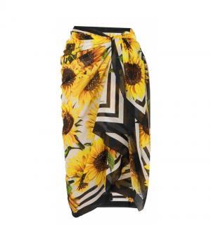 Dolce & Gabbana Yellow Sunflower Print Wrap Scarf