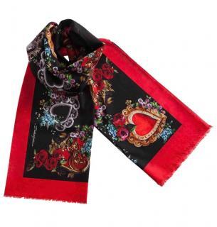 Dolce & Gabbana Red Sacred Heart Print Silk Scarf