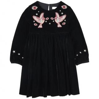 Stella McCartney Kids Velvet Dress with Embroidered Birds