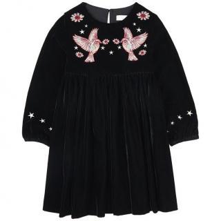 Stella McCartney Kids Velvet Dress with Embroidered Birds