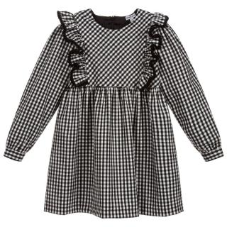 Piccola Ludo Kids 12Y Ruffle Checked Dress