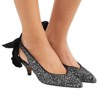 Ganni Salma Silver Glittered leather slingback pumps