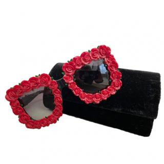 Dolce & Gabbana Red Square Rose Applique Sunglasses