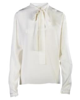 Rochas Pleated Back Pussybow Silk Blouse
