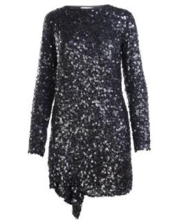 Philip Lim Black Sequin Long Sleeve Mini Dress