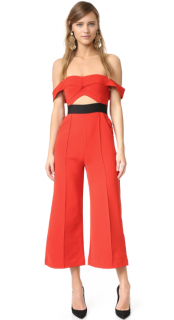 Self Portrait Ponte Cut-Out Cropped Jumpsuit