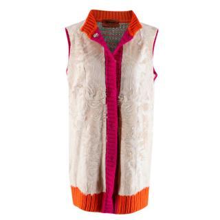 Missoni Astrakhan Fur Wool Blend Knit Sleeveless Cardigan