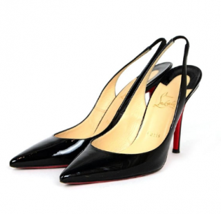 Christian Louboutin Black Patent Leather Apostrophy 100 Slingbacks
