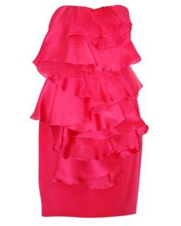 Marchesa Notte Fuchsia Strapless Ruffle Front Cocktail Dress