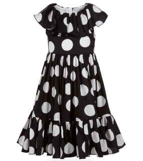 Dolce & Gabbana Kids 12Y Black & White Silk Dress