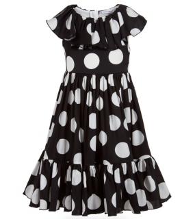 Dolce & Gabbana Kids 12Y Black & White Silk Dress