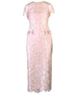 Marchesa Notte Blush Embroidered Lace 3D Flower Midi Dress