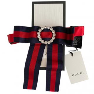 Gucci Blue & Red Grosgrain Crystal Neck Bowtie