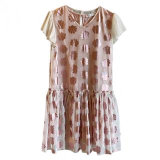Stella McCartney Kids 12Y Pink Ruffled Shell Print Dress