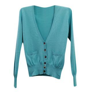 Etro Turquoise Silk & Cashmere Fine Knit Cardigan
