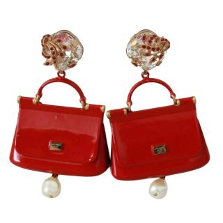 Dolce & Gabbana Red Sicily Bag Clip-On Earrings