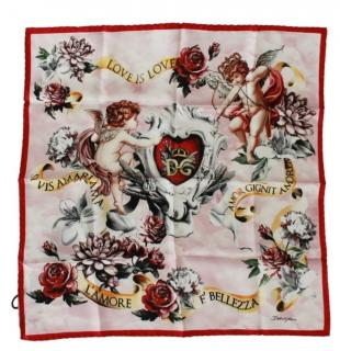 Dolce & Gabbana Pink Cherubs Print Silk Scarf