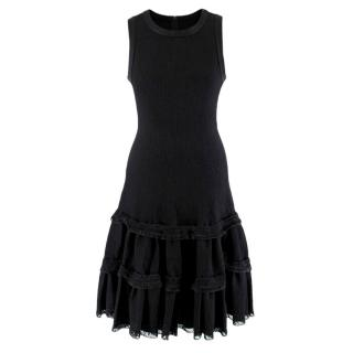 Alaia Black Knitted Sleeveless Tiered Dress